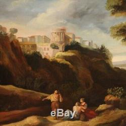 Landscape Oil Paintings On Canvas With Characters Old Style Frame