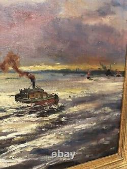 Large Marine Table Ancient Oil On Canvas XIX Eme
