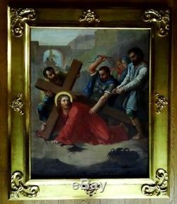 Large Oil On Canvas 18th Carrying Cross Ancient Painting