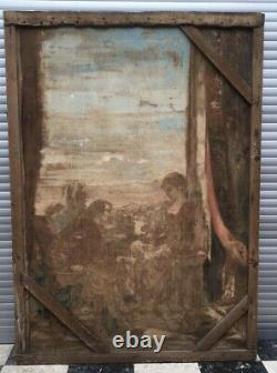Large Old Painting, Oil On Canvas, Gallant Scene, Late 19th 19th And Early 20th Century