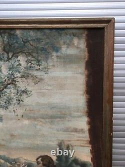 Large Old Painting, Oil On Canvas, Gallant Scene, Late Nineteenth Beginning Twentieth