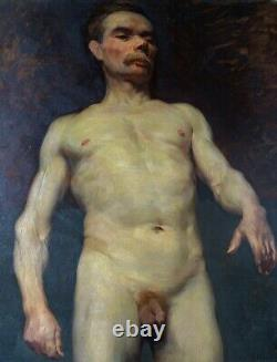 Male Nude Large Oil On Canvas Ancient Original Painting