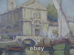 Malfroy Old Table Oil On Canvas Port Boat Mediterranee Martigues