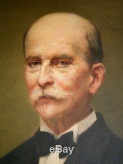 Man On Portrait Painting Old Oil On Canvas Art Deco Suit Nineteenth-1933