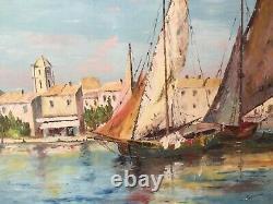 Marine Oil On Canvas Signed C San. Savene, Painting, Antique Painting