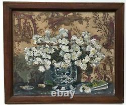 Marty's Ancient Painting, Oil On Canvas, Bouquet Of Flowers, Early 20th Century