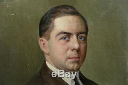 Max Wulfart (1876-1955) Portrait Of A Man Oil On Canvas Painting Old Painting