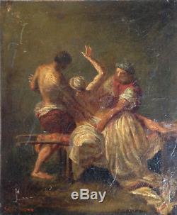 Men In Battle Delacroix Oil Painting On Old XIX