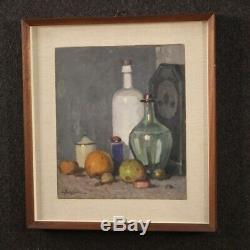 Nature Painting Signed Oil On Board Died Tablet Old Style With Frame