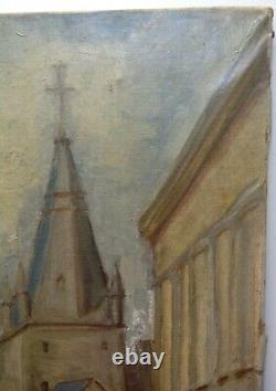 Near Old Painting Elisha Maclet Landscape In Church Great Oil On Canvas