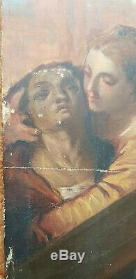 Nineteenth Jesus Christ Oil On Panel Table Old Wood Signed 54x65 Cross Path