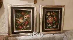 Oil On Canvas. Beautiful Old Still Life Pair