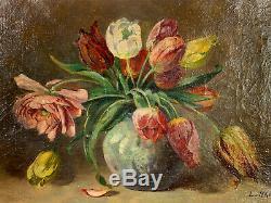 Oil On Canvas From 1944 Old De L. Hardy Bouquet Flowers In Tulips