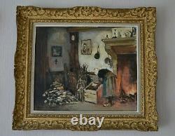 Oil On Canvas Jules Rene Herve Rare Scene Of Old Inn Genre Painting