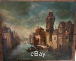 Oil On Canvas Landscape Painting Animated Boat Marine Paint Old Signed