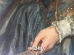 Oil On Canvas Painting Old Noble Lady XVIII 81.5 Cm100 CM Hst 18th