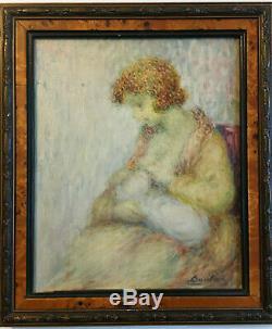 Oil On Canvas Portrait Old Child Motherhood Woman