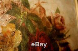 Oil On Canvas Still Life Oil Old Roses, Flower Basket