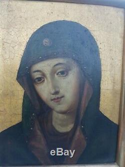 Oil On Copper Old Virgin Madonna Eighteenth Old Painting Oil On Copper Russian