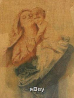 Oil On Old Tissue Unsigned Representing Motherhood