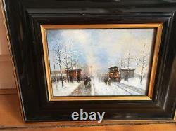 Oil On Panel Ancienne Paris Champs Elysées Arc De Triomphe Impressionism