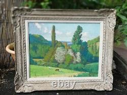 Oil On Panel Painting Old Landscape Cows Signed Superb Old Frame