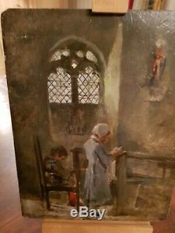 Oil On Panel Table Old XIX S, Prayer