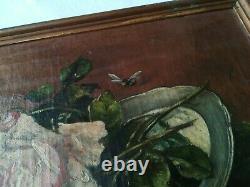 Oil Painting On Canvas / Still Life / Pink / H. Cayrel