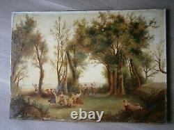 Oil Painting On Toile 10f Decor Bacchanals Faune Scene Fete St 18°s Ancien