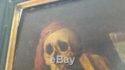 Oil Painting On Wood Vanity Old Rare Subject Framing Napoleon 3