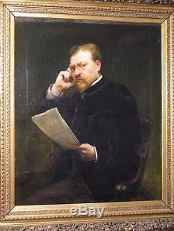 Old And Large Portrait Painting Of Man Oil On Canvas XIX