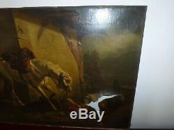 Old Big Table Oil On Canvas French School Napoleon Hussard Nineteenth Signed