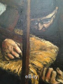 Old Expressionist Painting The Chair Flapper Oil On Canvas Signed