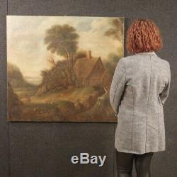 Old Flemish Painting Landscape Oil Painting On Canvas XIX Century 800