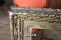 Old Gold Leaf Frame For Oil Painting On Canvas Exhibition Label