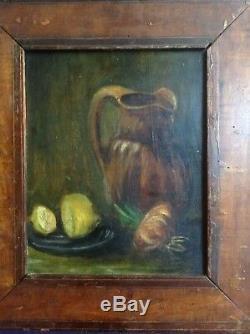 Old Impressionist Painting Still Life Van Gogh Style Oil On Wood