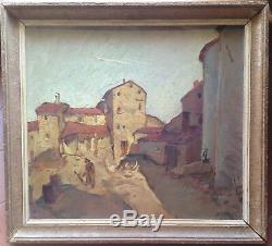 Old Impressionistic Painting Village Animated Village Oil On Panel Signed C1934