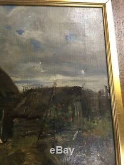 Old Landscape Oil On Canvas Late Nineteenth Impressionism To Restore