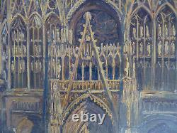 Old Large Oil On Canvas A. Horel (albert Horel) Cathedral Of Toul