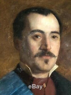 Old Man Portrait Freemason End Oil On Canvas 19th 19th Hst