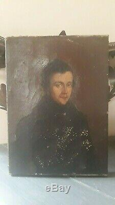 Old Man Portrait Painting Oil On Canvas 19th Century 19th