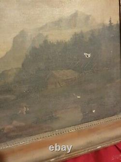 Old Mountain Landscape Paint, Oil On Canvas Nineteenth S