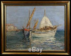 Old Navy Oil On Cardboard Strong Showing Sailboats On The Sea Signed