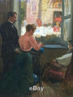 Old Oil Impressionist Scene Of Interior On Old Canvas XIX