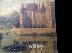 Old Oil On Canvas Landscape Animated Chateau End 18 Antik Eme Oil On Canvas