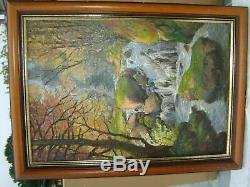Old Oil On Canvas Landscape Waterfall Signed Artist Reney Good Rating