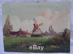 Old Oil On Canvas, Pair Of Miniature Even 19th Signature