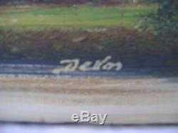Old Oil On Canvas, Pair Of Miniature Same Signature 19th