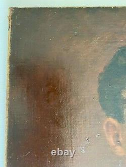 Old Oil On Canvas Portrait Of A Young Man