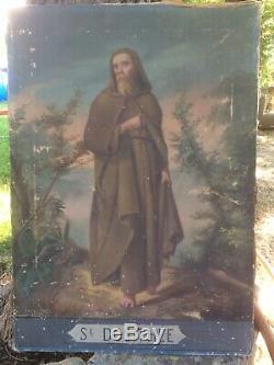Old Oil On Canvas Saint Dosithee Late 18th Century